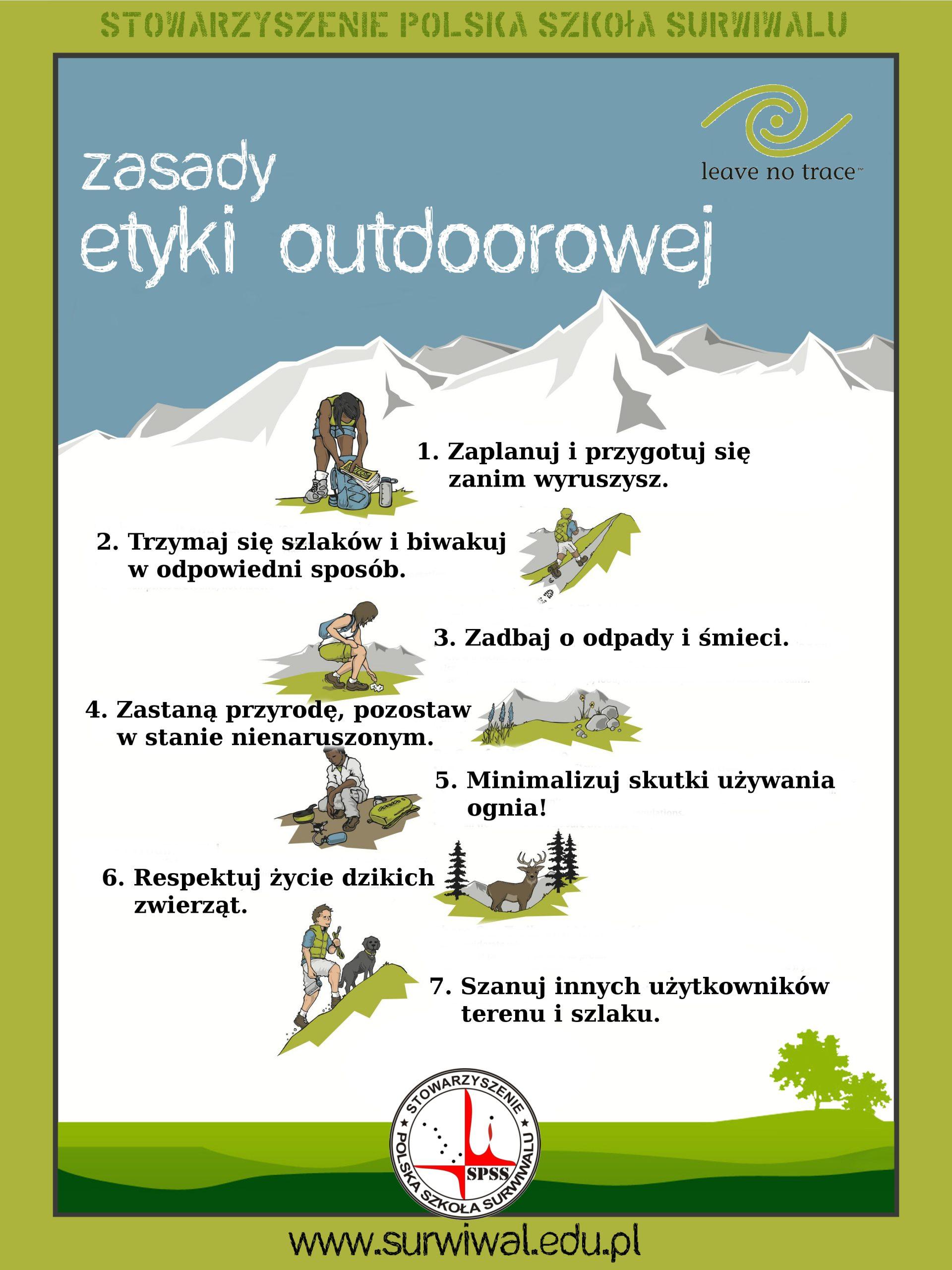 siedem zasad Leave no Trace - etyka outdoorowa podstawą funkcjonowania programu Zanocuj w Lesie